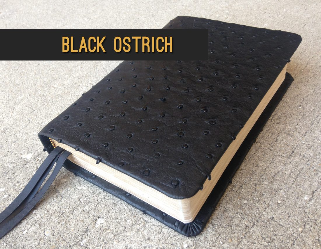 Black ostrich leather bible - Repair and recover your bible in exotic leather