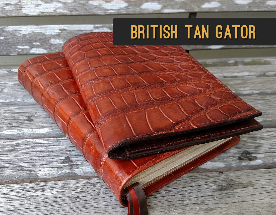 British Tan Gator Bible & Padfolio