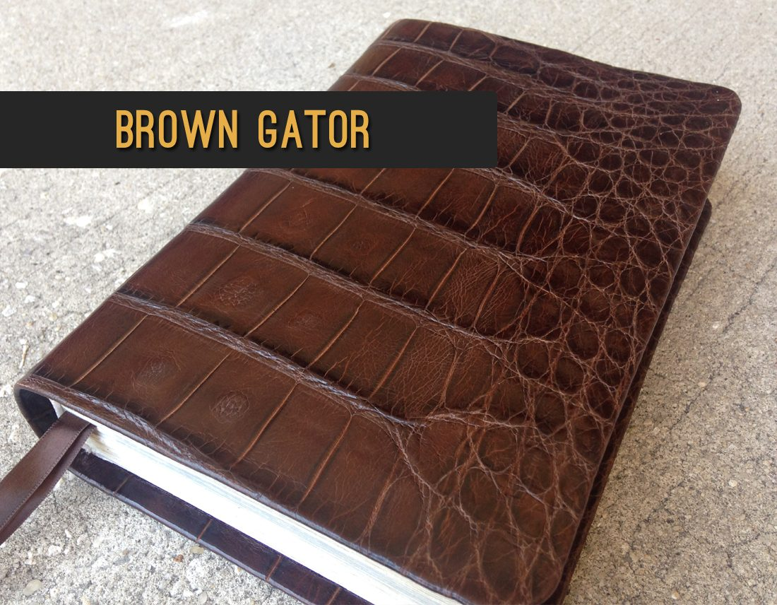 Brown gator leather bible - Repair & recover your Bible in exotic leather