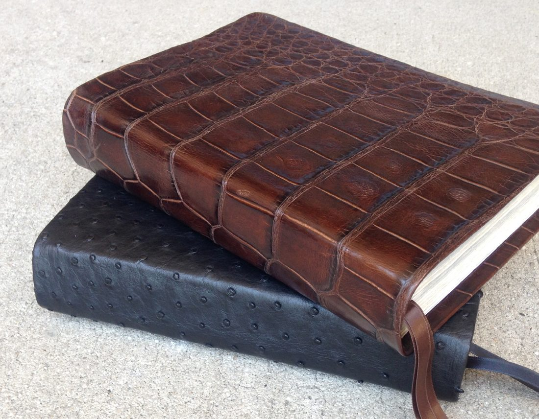 Brown gator leather bible & black ostrich leather bible - Repair & recover your Bible in exotic leather